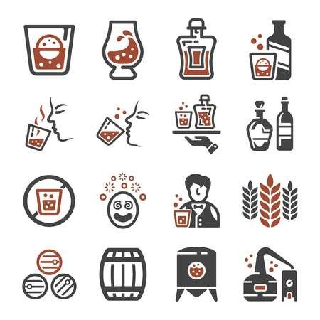 whisky,liquor icon set Illustration