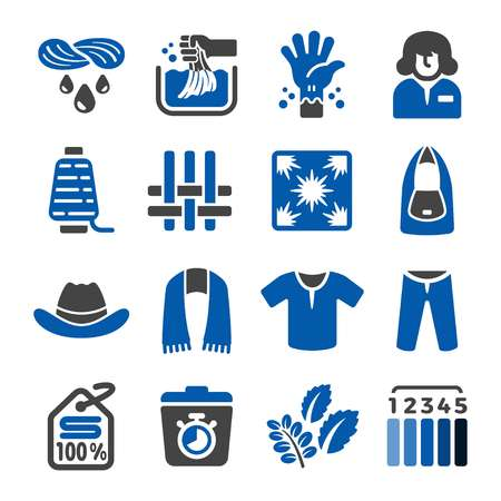 indigo dye fabric icon set