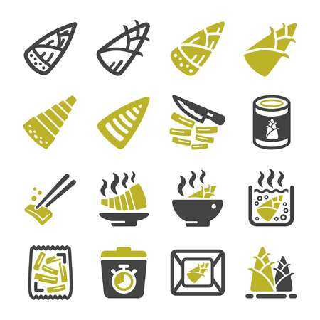 bamboo shoot icon set