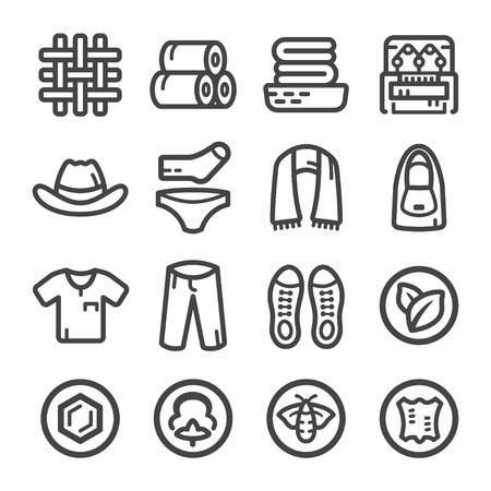 fabric and clothes icon set