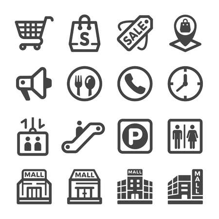 shopping mall icon set