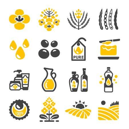rapeseed and canola oil icon set Illustration