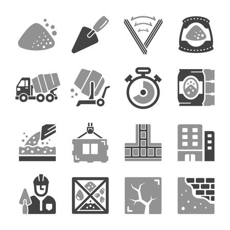 conjunto de iconos de cemento y hormigón