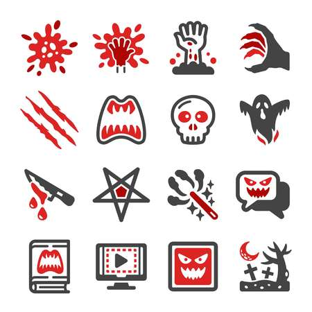 horror icon set Ilustrace