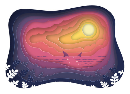 paper cut of sea view and sunset landscape with sailboat on the ocean,paper art style,vector and illustration Illustration