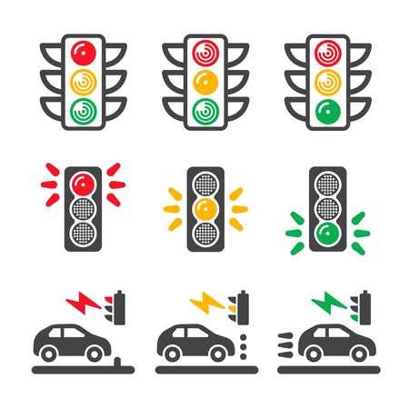traffic light icon set Illustration