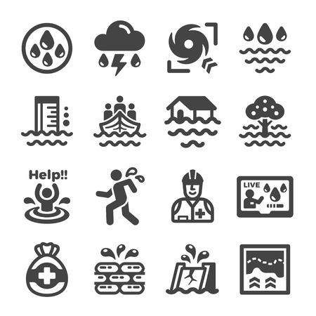 inundation,flood icon set Illustration