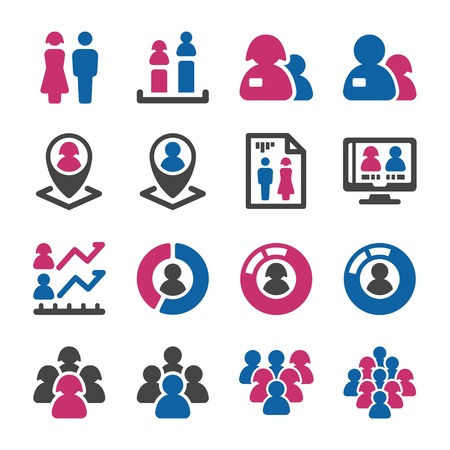 people with gender icon set