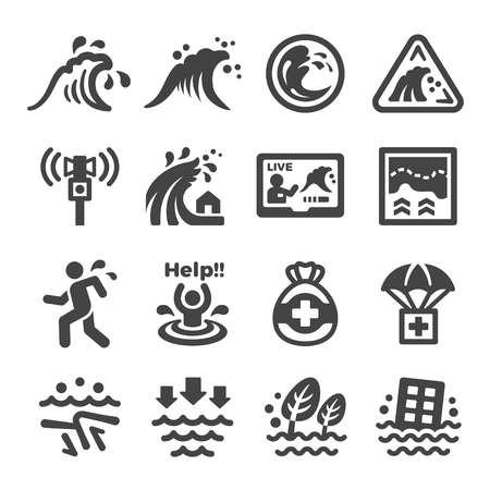 jeu d'icônes de tsunami