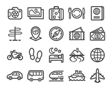 zestaw ikon cienka linia podróży