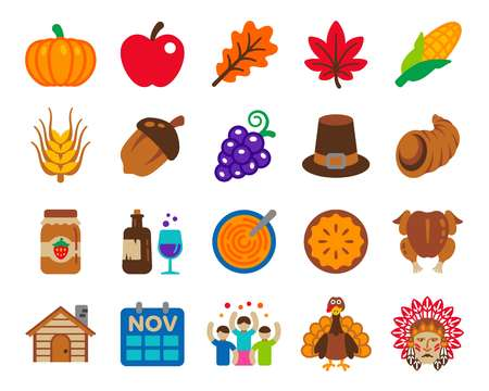thanksgiving Day icon set,colorful decorate illustration Illustration