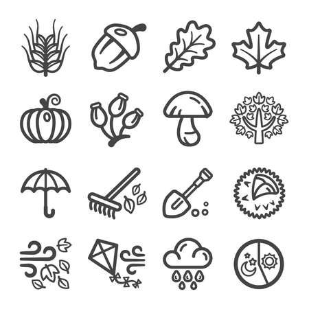 autumn thin line icon set