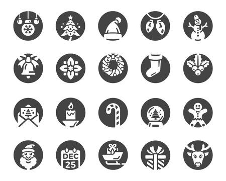 merry christmas,xmas icon set,inverse flat icon style