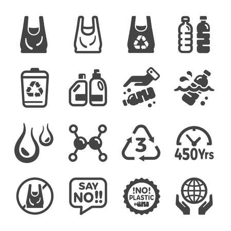 plastic icon set Illustration