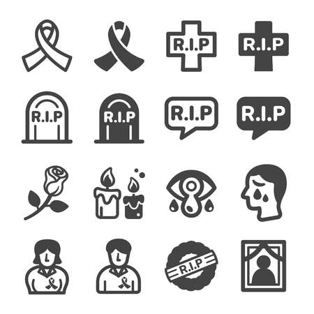 rip,commemorate,remembrance icon set,vector and illustration Illustration
