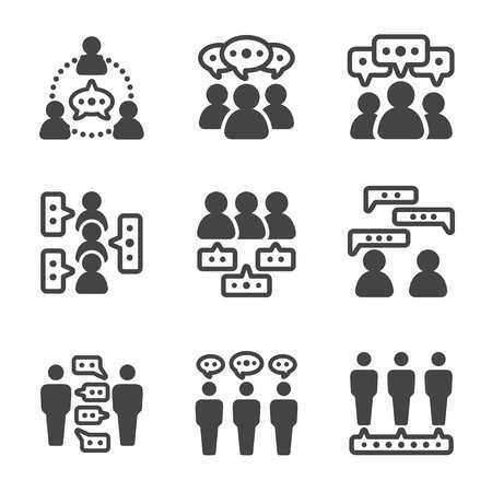 dialoguer les gens, parler des gens icône, vecteur et illustration Vecteurs