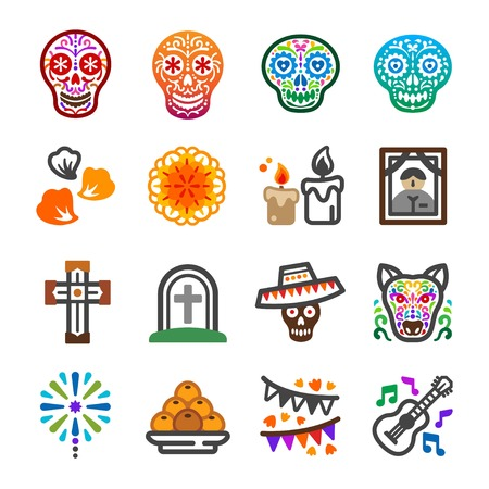 day of the dead festival and celebrate icon set,vector and illustration