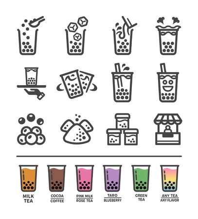 bubble milk tea icon set,vector and illustration
