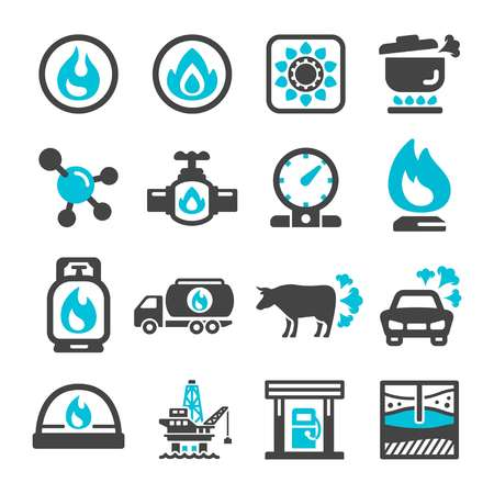 natural gas icon set,vector and illustration  イラスト・ベクター素材