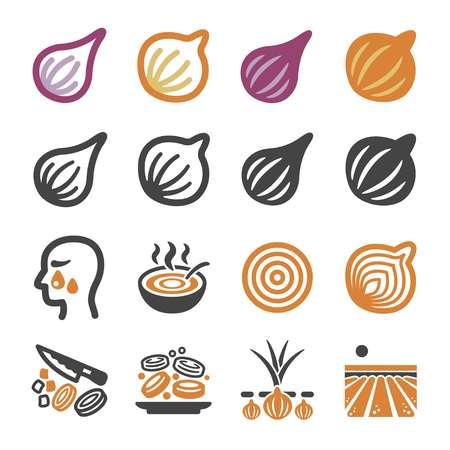 onion,shallot icon set,vector and illustration Çizim