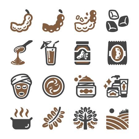 tamarind icon set,vector and illustration