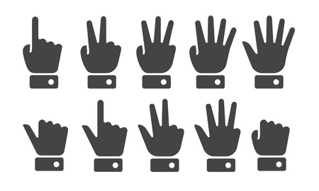 finger counting icon set,vector and illustration