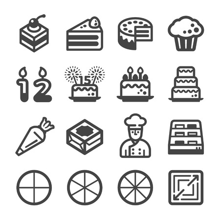 cake icon set,vector and illustration