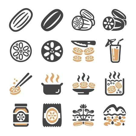 lotus root icon set,vector and illustration Illustration