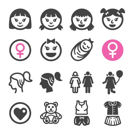 girl icon set,vector and illustration