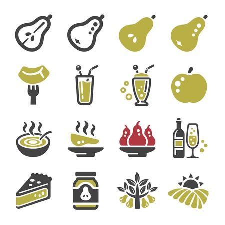 pear icon set,vector and illustrattion