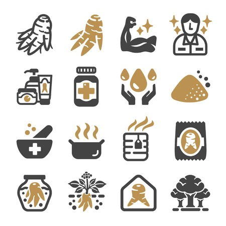ginseng icon set,vector and illustration