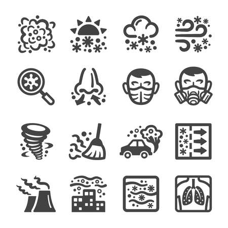 smog,dust icon set,vector and illustration