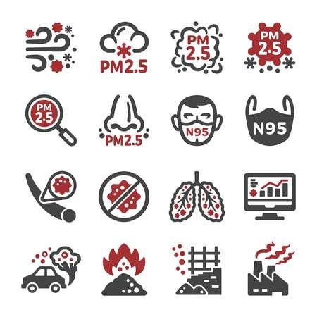 pollution de l'air, jeu d'icônes pm 2,5, vecteur et illustration