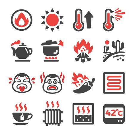 hot,heat icon set,vector and illustration Illusztráció