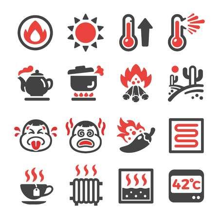 hot,heat icon set,vector and illustration Illustration