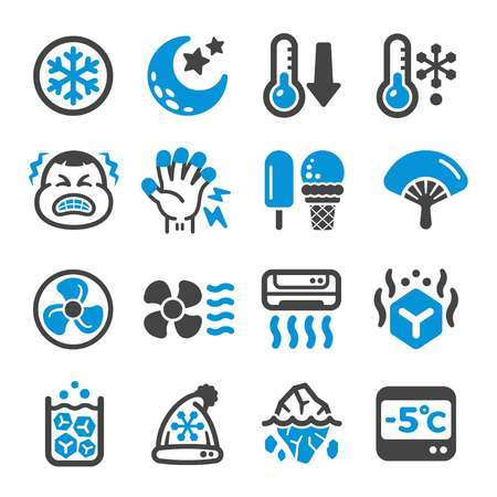 cool,cold icon set,vector and illustration Ilustrace