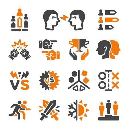 rival,enemy icon set,vector and illustration
