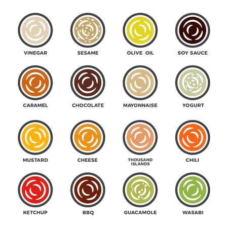 sauce and condiment icon set,vector and illustration