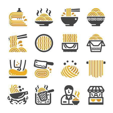 noodle icon set,vector and illustration