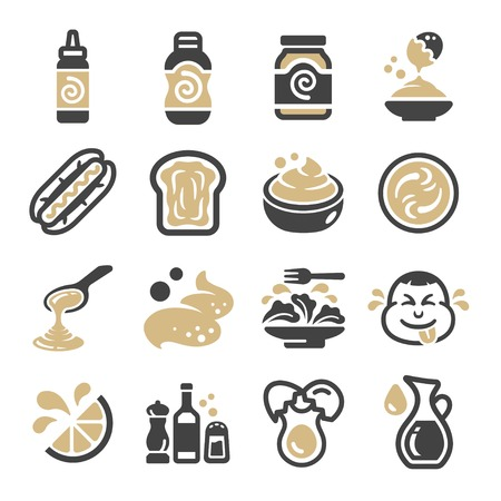 mayonnaise icon set,vector and illustration