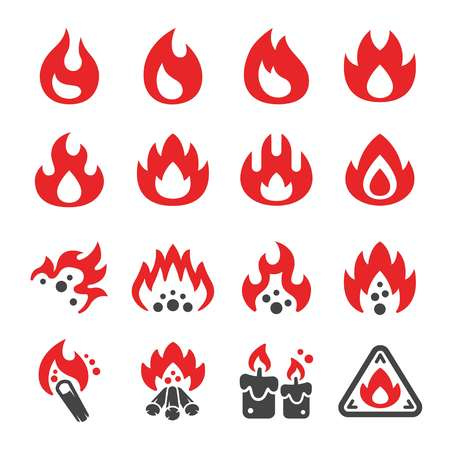 fire and flame icon set,vector and illustration Иллюстрация
