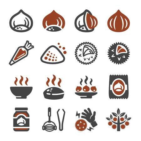 chestnut icon set,vector and illustration Illustration