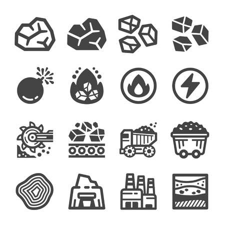 coal icon set,vector and illustration Vectores