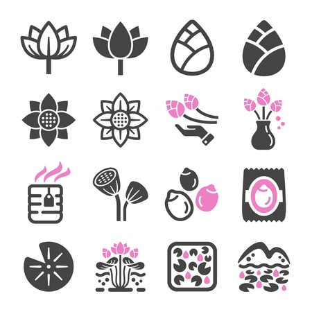 lotus icon set,vector and illustration