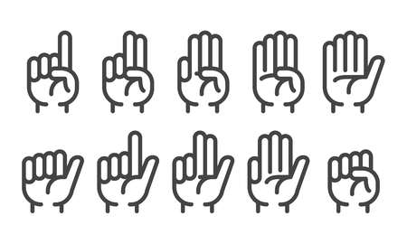 finger counting thin line icon set,vector and illustration Illustration