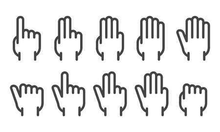 finger counting back hand thin line icon set,vector and illustration