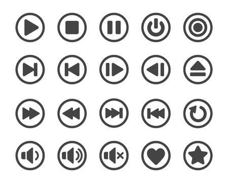 set di icone, vettore e illustrazione del pulsante del lettore multimediale Vettoriali