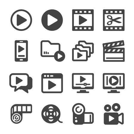 jeu d'icônes vidéo, vecteur et illustration Vecteurs