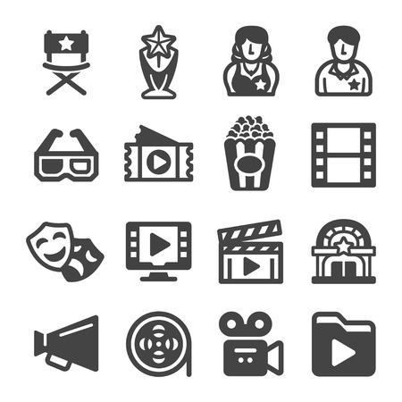 movie icon set,vector and illustration