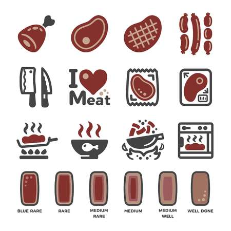 meat and cooking icon set,vector and illustration Çizim